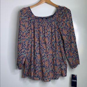 NWTs CHAPS • Boho Floral Off Shoulder Top Blouse